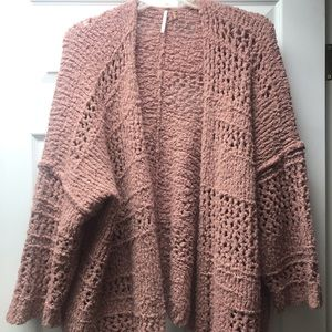 Dusty pink knitted free people oversized cardigan